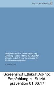 Deutscher Ethikrat Ad-hoc Empfehlung Suizidprävention