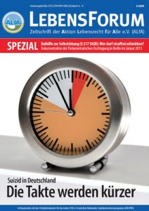 Titelblatt Lebensforum Spezial zur Suizidhilfe-Tagung 2013