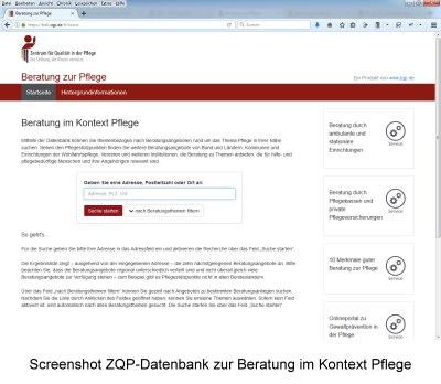 Screenshot ZQP-Datenbank Beratung im Kontext Pflege