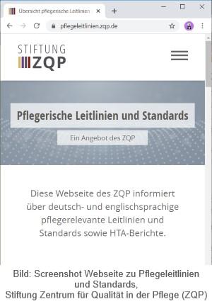 Screenshot ZQP Webseite zu Leitlinien