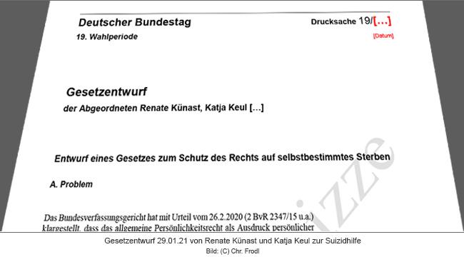 Entwurf eines Gesetzes zum Schutz des Rechts auf selbstbestimmtes Sterben (Entwurfskizze) von Renate Künast und Katja Keul, Bündnis 90 / Die Grünen vom 29.01.21