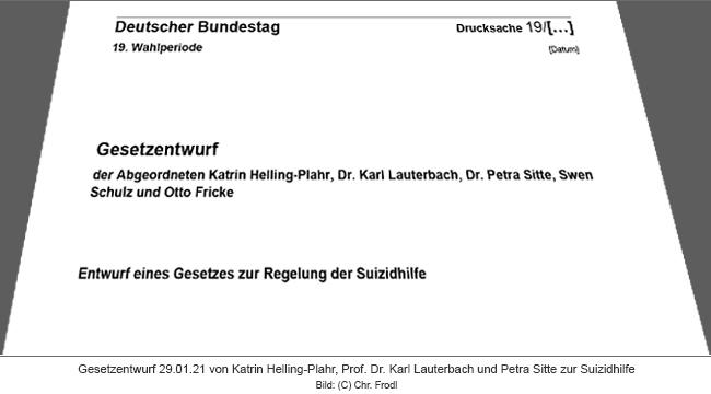 Gesetzentwurf der Abgeordneten Helling-Plahr, Lauterbach und Sitte MdB zur Regelung der Suizidbeihilfe vom 29.01.21
